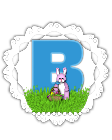 The letter B, in the alphabet set Easter Bunny Field, is turquoise blue with soft edges.  It sits on a lacy doily and has an Easter Bunny and basket on green grass. Stock Photo