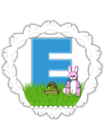 The letter E, in the alphabet set Easter Bunny Field, is turquoise blue with soft edges.  It sits on a lacy doily and has an Easter Bunny and basket on green grass.