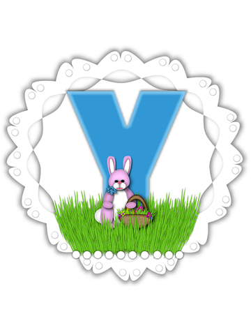 The letter Y, in the alphabet set Easter Bunny Field, is turquoise blue with soft edges.  It sits on a lacy doily and has an Easter Bunny and basket on green grass. Stock Photo
