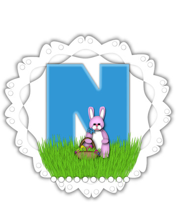 The letter N, in the alphabet set Easter Bunny Field, is turquoise blue with soft edges.  It sits on a lacy doily and has an Easter Bunny and basket on green grass.