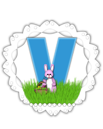 The letter V, in the alphabet set Easter Bunny Field, is turquoise blue with soft edges.  It sits on a lacy doily and has an Easter Bunny and basket on green grass.