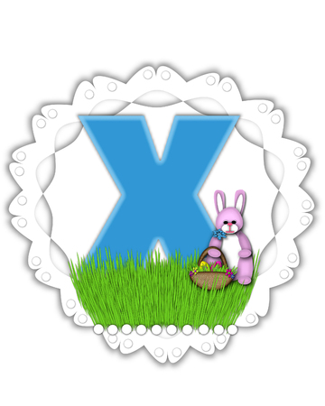 The letter X, in the alphabet set Easter Bunny Field, is turquoise blue with soft edges.  It sits on a lacy doily and has an Easter Bunny and basket on green grass. Stock Photo