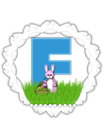 The letter F, in the alphabet set Easter Bunny Field, is turquoise blue with soft edges.  It sits on a lacy doily and has an Easter Bunny and basket on green grass.