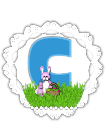 The Letter O In The Alphabet Set Easter Bunny Field Is Turquoise