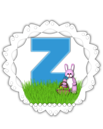 The letter Z, in the alphabet set Easter Bunny Field, is turquoise blue with soft edges.  It sits on a lacy doily and has an Easter Bunny and basket on green grass.