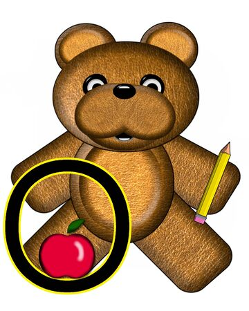 The letter O, in the alphabet set Bear Alphabet Lesson is decorated with a pencil and apple.  Brown bear fills in background.