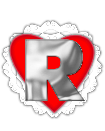 The letter R, in the alphabet set Valentine Foil, is metalic silver.  It sits on a red valentine and white frilly doily.