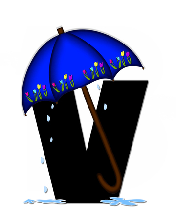The letter V, in the alphabet set Alphabet April Rain, is black and decorated with rain drops and blue umbrella which is embellished with colorful tulips.
