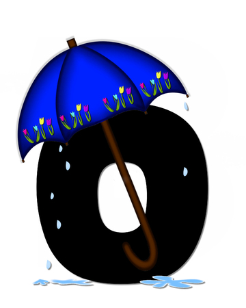 The letter O, in the alphabet set Alphabet April Rain, is black and decorated with rain drops and blue umbrella which is embellished with colorful tulips. Stock Photo