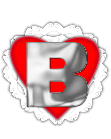 The letter B, in the alphabet set Valentine Foil, is metalic silver.  It sits on a red valentine and white frilly doily.