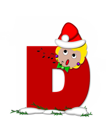 The letter D, in the alphabet set Carol of Christmas, is red and decorated with snow and a child singing Christmas Carols.