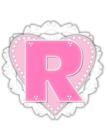 The letter R, in the alphabet set Romantic Valentine, is pink outlined with white.  It isits on a pink valentine and white frilly doily.