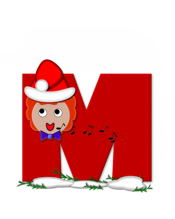 The letter M, in the alphabet set Carol of Christmas, is red and decorated with snow and a child singing Christmas Carols.