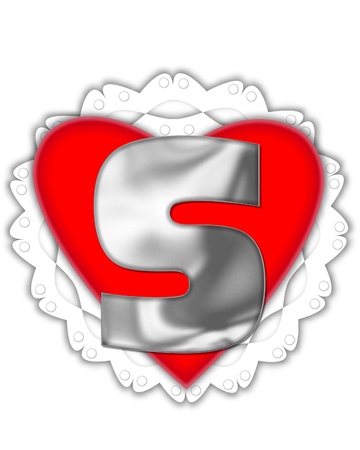 The letter S, in the alphabet set Valentine Foil, is metalic silver.  It sits on a red valentine and white frilly doily.