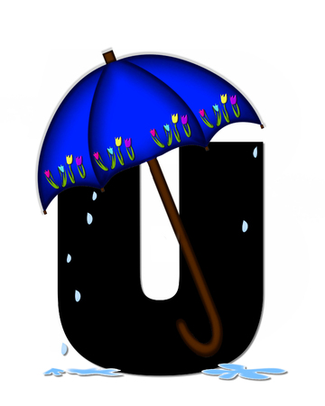 The letter U, in the alphabet set Alphabet April Rain, is black and decorated with rain drops and blue umbrella which is embellished with colorful tulips.