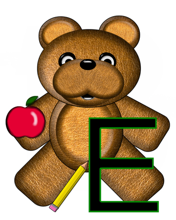 The letter E, in the alphabet set Bear Alphabet Lesson is decorated with a pencil and apple.  Brown bear fills in background.