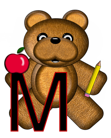 The letter M, in the alphabet set Bear Alphabet Lesson is decorated with a pencil and apple.  Brown bear fills in background. Stock Photo