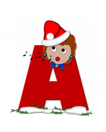 The letter A, in the alphabet set Carol of Christmas, is red and decorated with snow and a child singing Christmas Carols.