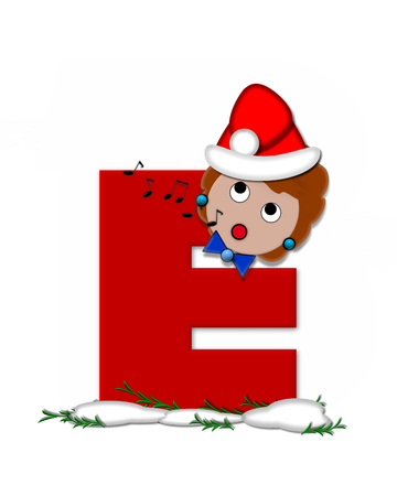 The letter E, in the alphabet set Carol of Christmas, is red and decorated with snow and a child singing Christmas Carols.