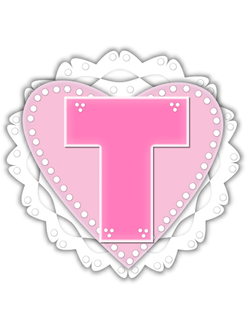 The letter T, in the alphabet set Romantic Valentine, is pink outlined with white.  It isits on a pink valentine and white frilly doily.
