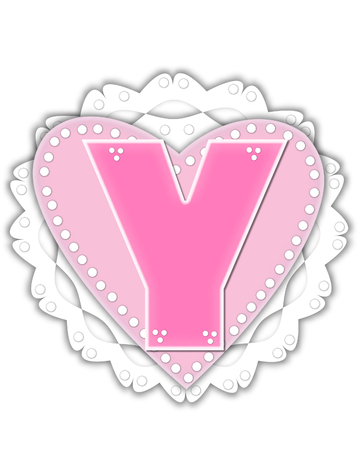 The letter Y, in the alphabet set Romantic Valentine, is pink outlined with white.  It isits on a pink valentine and white frilly doily. Stock Photo