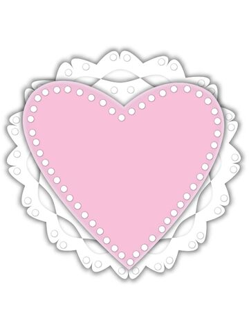 Romantic Valentine graphic is pink outlined with white.  It has polka dots and sits on a white frilly doily.