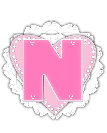 The letter N, in the alphabet set Romantic Valentine, is pink outlined with white.  It isits on a pink valentine and white frilly doily. Stock Photo