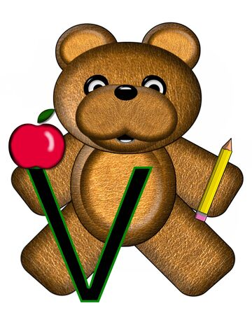 The letter V, in the alphabet set Bear Alphabet Lesson is decorated with a pencil and apple.  Brown bear fills in background.