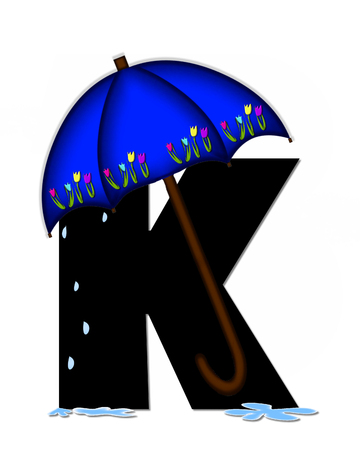 The letter K, in the alphabet set Alphabet April Rain, is black and decorated with rain drops and blue umbrella which is embellished with colorful tulips.