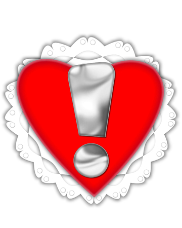 Exclamation point, in the alphabet set Valentine Foil, is metalic silver.  It sits on a red valentine and white frilly doily. Stock Photo