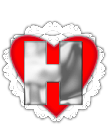 The letter H, in the alphabet set Valentine Foil, is metalic silver.  It sits on a red valentine and white frilly doily.