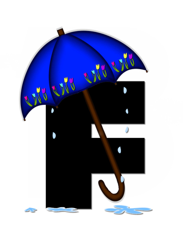 The letter F, in the alphabet set Alphabet April Rain, is black and decorated with rain drops and blue umbrella which is embellished with colorful tulips.