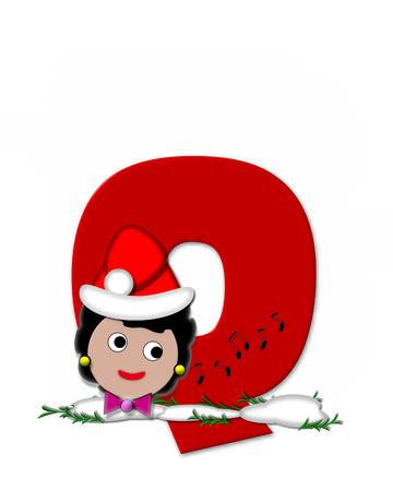 The letter Q, in the alphabet set Carol of Christmas, is red and decorated with snow and a child singing Christmas Carols.  Stock Photo