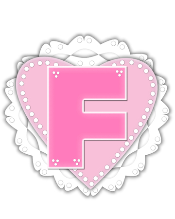 The letter F, in the alphabet set Romantic Valentine, is pink outlined with white.  It isits on a pink valentine and white frilly doily. Stock Photo