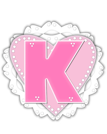 The letter K, in the alphabet set Romantic Valentine, is pink outlined with white.  It isits on a pink valentine and white frilly doily. Stock Photo