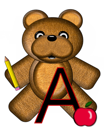 The letter A, in the alphabet set Bear Alphabet Lesson is decorated with a pencil and apple.  Brown bear fills in background.