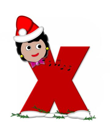 The letter X, in the alphabet set Carol of Christmas, is red and decorated with snow and a child singing Christmas Carols.