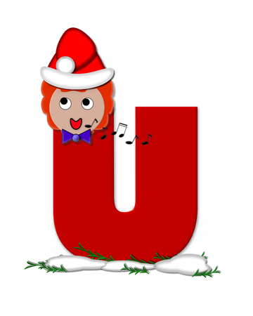 The letter U, in the alphabet set Carol of Christmas, is red and decorated with snow and a child singing Christmas Carols.  Stock Photo