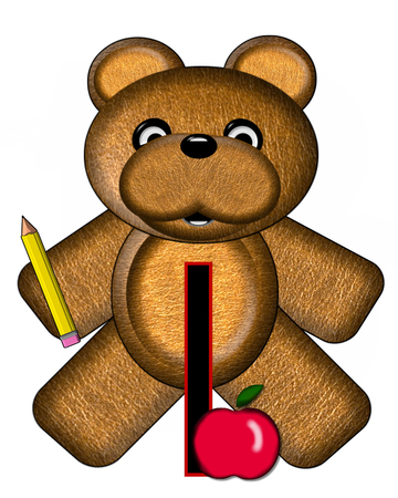 The letter I, in the alphabet set Bear Alphabet Lesson is decorated with a pencil and apple.  Brown bear fills in background.