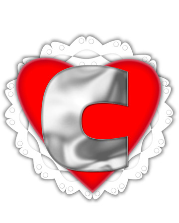 The letter C, in the alphabet set Valentine Foil, is metalic silver.  It sits on a red valentine and white frilly doily.