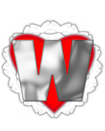 The letter W, in the alphabet set Valentine Foil, is metalic silver.  It sits on a red valentine and white frilly doily.