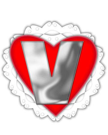 The letter V, in the alphabet set Valentine Foil, is metalic silver.  It sits on a red valentine and white frilly doily.