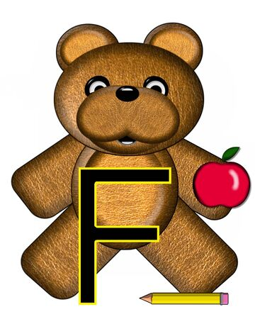 The letter F, in the alphabet set Bear Alphabet Lesson is decorated with a pencil and apple.  Brown bear fills in background. Stock Photo