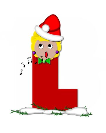 The letter L, in the alphabet set Carol of Christmas, is red and decorated with snow and a child singing Christmas Carols.