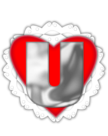 The letter U, in the alphabet set Valentine Foil, is metalic silver.  It sits on a red valentine and white frilly doily.