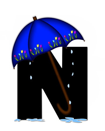 The letter N, in the alphabet set Alphabet April Rain, is black and decorated with rain drops and blue umbrella which is embellished with colorful tulips. Stock Photo