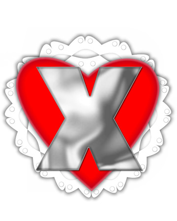 The letter X, in the alphabet set Valentine Foil, is metalic silver.  It sits on a red valentine and white frilly doily. Stock Photo