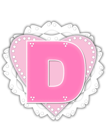 The letter D, in the alphabet set Romantic Valentine, is pink outlined with white.  It isits on a pink valentine and white frilly doily.