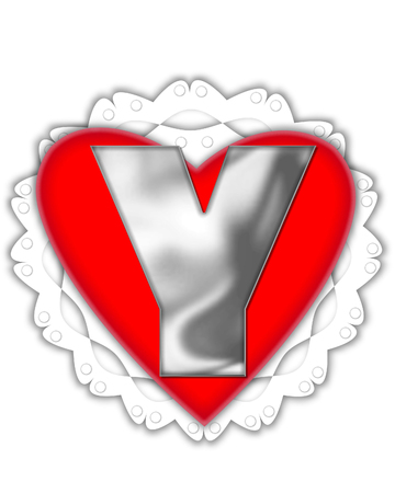 The letter Y, in the alphabet set Valentine Foil, is metalic silver.  It sits on a red valentine and white frilly doily.