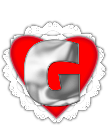 The letter G, in the alphabet set Valentine Foil, is metalic silver.  It sits on a red valentine and white frilly doily. Stock Photo